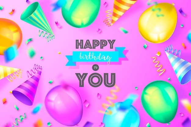 Funny birthday background with colorful decoration