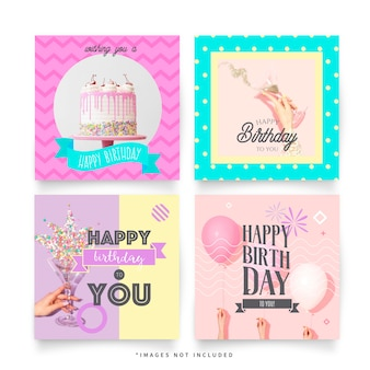Funny birthday greeting post templates for instagram