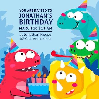 面白い誕生日の招待状のコンセプト