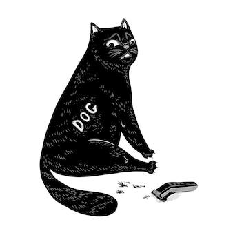 剃った側とバリカンを持つ面白い黒猫。印刷、ステッカー、ポスター、カードのかわいいベクトル文字デザイン