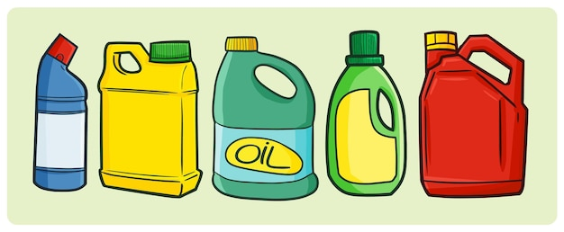 Funny blank industrial oil packaging collection in simple doodle style