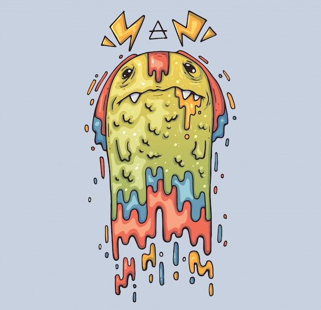 Funny blob monster. cartoon illustration. character in the modern graphic style.