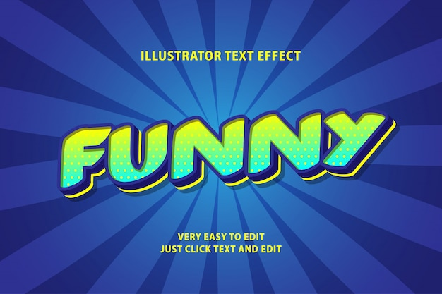 Funny blue green text effect, editable text