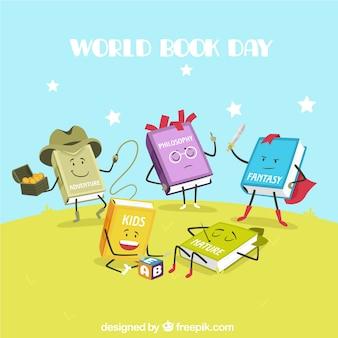 Funny books cartoon background