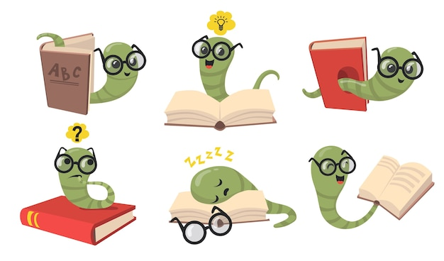 Funny bookworms flat item set. cartoon library worms in eyeglasses reading book, sleeping and smiling isolated vector illustration collection. animals and insects concept