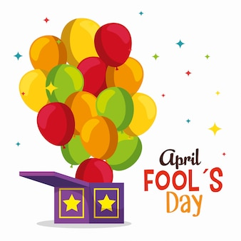 Funny box with balloons to fools day