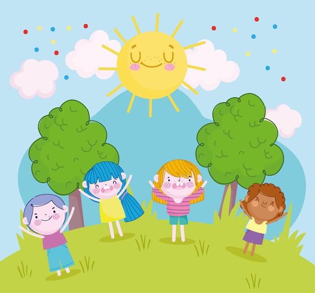 Смешные мальчики и девочки вместе в парке мультфильм, детская иллюстрация