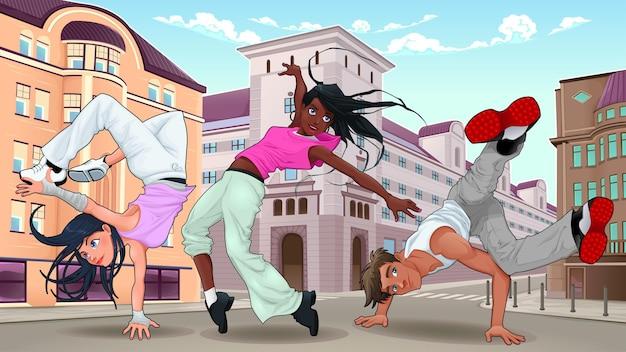 Breakdancer divertenti nell'illustrazione della città.