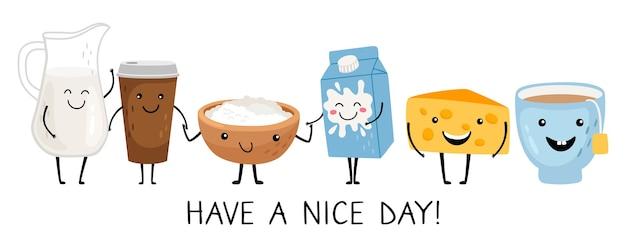 Забавные персонажи завтрака. хорошего дня, формулировка. набор векторных мило изолированных продуктов питания