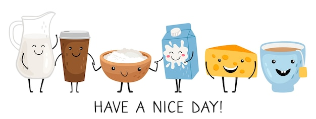 Funny breakfast characters. have a nice day wording. vector cute isolated food set