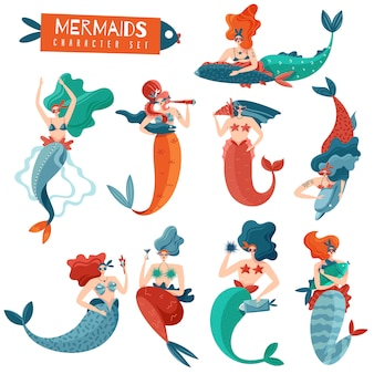 Funny bright mermaids set of fairy characters during various actions isolated flat