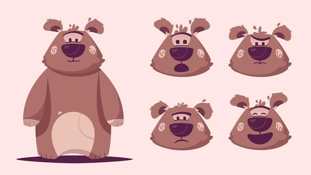 재미있는 갈색 곰 캐릭터 일러스트