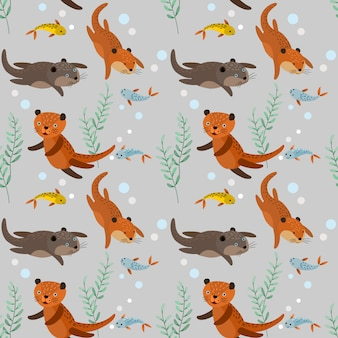 Funny brown otters with fish seamless pattern.