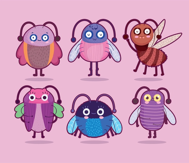 Funny bugs creature animals cartoon set on pink background  illustration