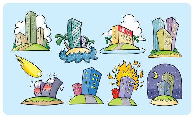 귀여운 만화 스타일의 재미있는 건물 컬렉션