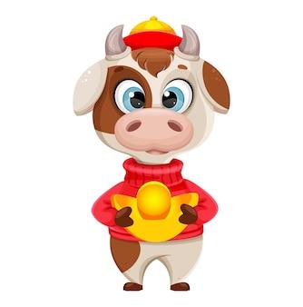 Забавный бык. милый бык мультипликационный персонаж в свитере