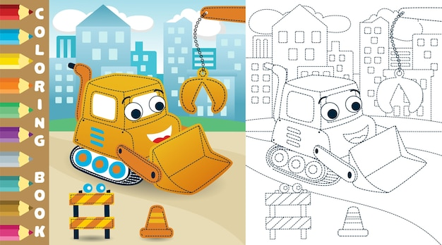 Funny bulldozer cartoon on buildings background