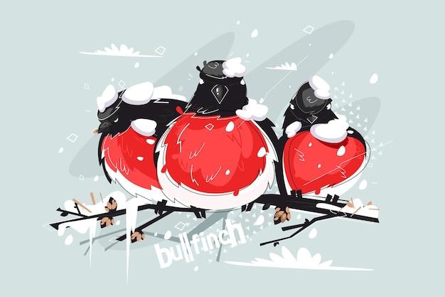 Смешные снегири на дереве векторные иллюстрации. птицы с красным оперением, темными крыльями и белым крупом сидят на ветке под зимним снегопадом в плоском дизайне