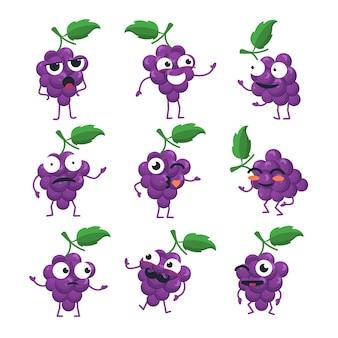 재미 있는 포도 무리-벡터 격리 만화 이모티콘. 멋진 캐릭터가 있는 귀여운 이모티콘 세트. 화나고, 놀라고, 행복하고, 혼란스럽고, 미쳤고, 웃고, 슬픈 과일 모음