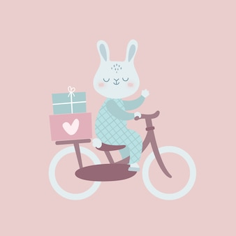 Funny bunny on bicycle with gifts