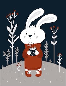 Забавный мультяшный кролик в длинном свитере