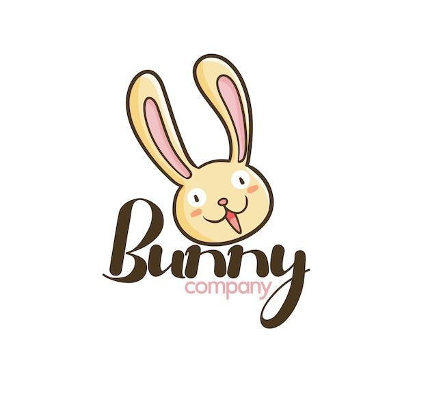 재미 있는 토끼 회사 로고 템플릿