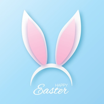 Funny bunny easter ears greeting card. paper cut style