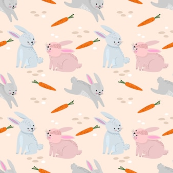 Funny bunny with carrots pattern.