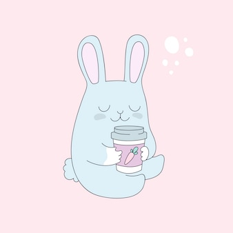 Funny bunny with cup of tea, coffee