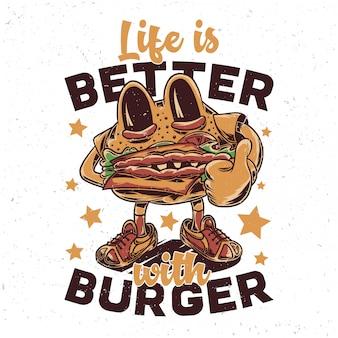 A funny burger character