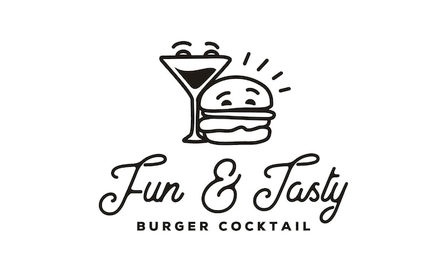 Funny burger and cocktail logo with hipster line art style