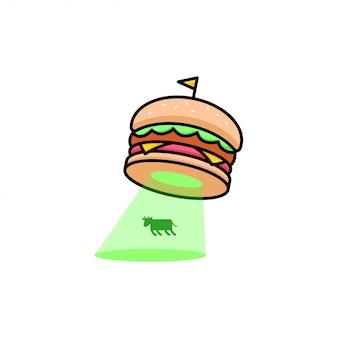 Смешный логотип бургера нашествие коровы