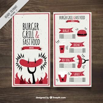Funny burguer bar menu template