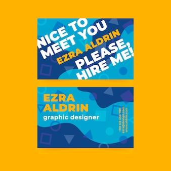 Прикольная визитка с геометрическими формами для графического дизайнера