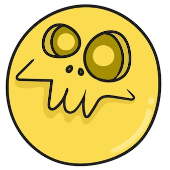 재미있지만 무서운 해골 이미지. 낙서 아이콘을 그립니다. 만화 낙서 스티커 무승부