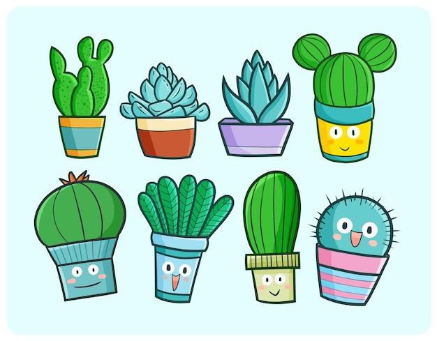간단한 만화 낙서 스타일의 재미있는 선인장과 다육 식물