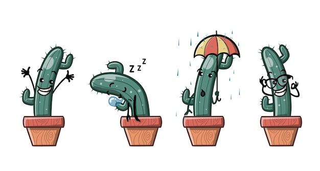 Funny cactus cartoon mascot