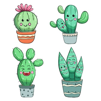 Funny cactus illustration with kawaii face by using colored doodle style