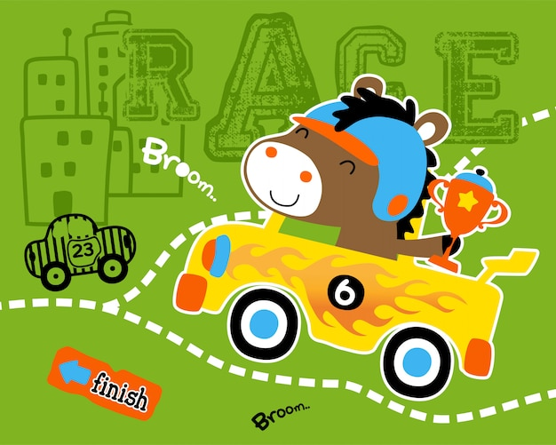 Funny car racer cartoon with trophy