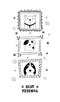 Funny card with cute face dogs and lettering best friends!