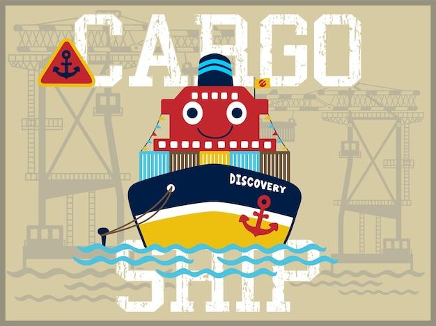 Funny cargo ship cartoon
