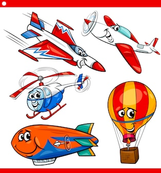 Funny cartoon aircraft vehicles set