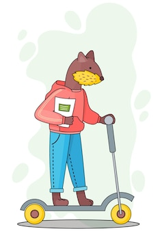 Funny cartoon animal student illustration