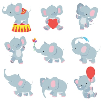 Funny cartoon baby elephants  collection for kids stickers