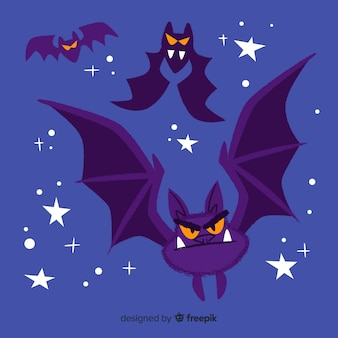 Funny cartoon bats flying alongside stars