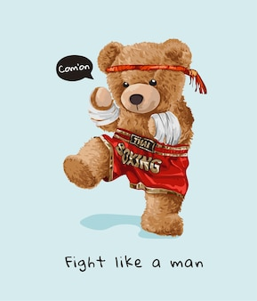 Funny cartoon bear toy in thai boxing style illustration