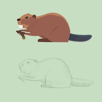 Забавная мультипликационная иллюстрация бобра, стиль мультфильма