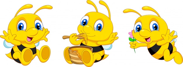 Funny cartoon bee collection