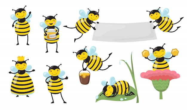 Funny cartoon bee in different actions set