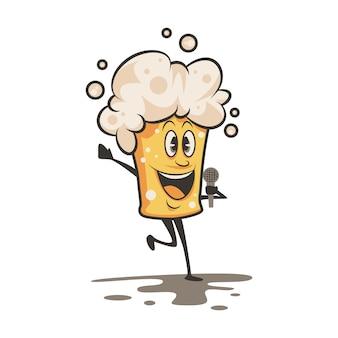 Funny cartoon beer character